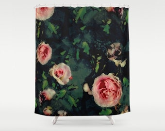 Big Pink Roses Dark Green Fabric Shower Curtain, Graphic Roses Green Leaves Bathroom Decor