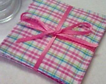Mug Rug Set of 4, PASTEL PLAID, Fabric Coasters, Handmade, Hostess Gift, FREE Shipping in USa