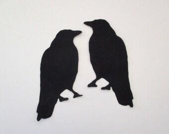 2 Raven Iron On Appliques Pick Size