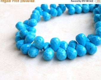 Deep Discount Sale Howlite Dyed Turquoise Gemstone Blue Faceted Teardrop Briolette 9 to 10mm 55 beads Full Strand