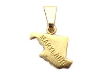 """Maryland  State Necklace.  Raw Brass.  18"""" Gold Chain. Tiny."""