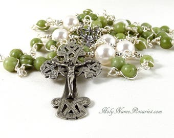 Irish Rosary Celtic  Green Connemara Marble White Swarovski Pearls Sterling Silver White Bronze Wire Wrapped Unbreakable
