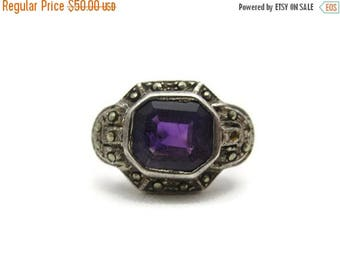 OnSale Art Deco Amethyst Ring - Sterling Silver Marcasite, Natural Stone