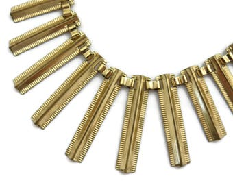 Gold Bib Necklace - Vintage Modernist Fringe Costume Jewelry