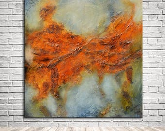 Orange abstract painting Original by Andrada, Abstract ready to hang, large square painting, unique painting on canvas, lobby office art