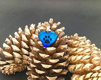 Turquoise heart and paw print pendant