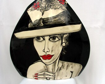 Ceramic Pottery Vase Two Hand painted Black ,White & Red Woman's Faces with Fashion Hats Triangle Shaped  on ETSY