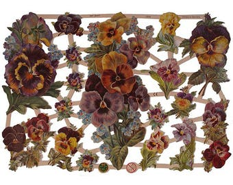 Germany Paper Scraps Lithographed  Die Cut Victorian Pansy Flowers  7279