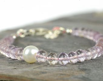 Pink amethyst bracelet, sterling silver and pink amethyst, faceted gemstone bracelet, February birthstone, pale pink, summer bracelet