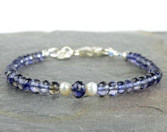 Iolite and freshwater pearl bracelet, sterling silver, iolite and pearl, faceted gemstone bracelet, June birthstone, water sapphire