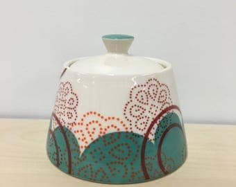 handmade small porcelain jar: Dot Dot Doily lidded jar by Meredith Host in Turquoise