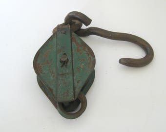 Vintage Industrial Rusty Green Iron Pulley With A Hook