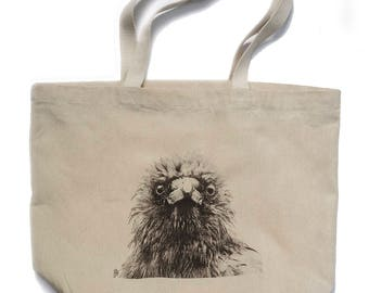 Frazzled Crow, Mabel, by June Hunter, Digitally Printed 100% Cotton Tote Bag, Crow Lover Gift