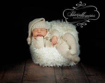 Custom Knit Newborn Onsie Sleeper PJ'S and Stocking Hat