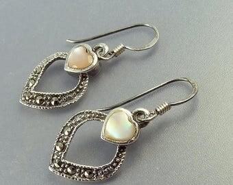 Vintage Sterling Silver Marcasite Heart Earrings
