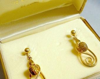 Vintage Gold Filled Scarab Earrings Original Box Tiger Eye Stone