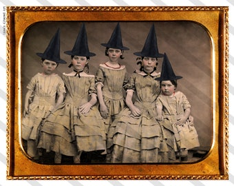 Vintage Photo Download  No.P48 Altered Photo, Halloween Witches, Instant Download, Witch Sisters