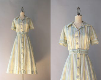 1940s Dress / Vintage 40s Pale Gray and Green Striped Cotton Dress / 1950s Button Down Day Dress M medium