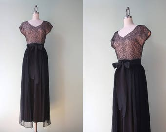 1930s Dress / Vintage 30s Black Lace Illusion Cocktail Dress / 1940s Black Maxi Evening Gown with Overskirt XS extra small