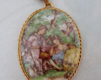 ON SALE- vintage porcelain print renaissance couple in the woods pendant necklace - j5567