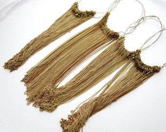 """144 pieces 4 hanks of 36 vintage raw brass 15"""" long 1mm wide curb chains with clasps destash bulk lot BL408"""