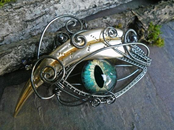 Gothic Steampunk Blue Green Eye Pin Pendant