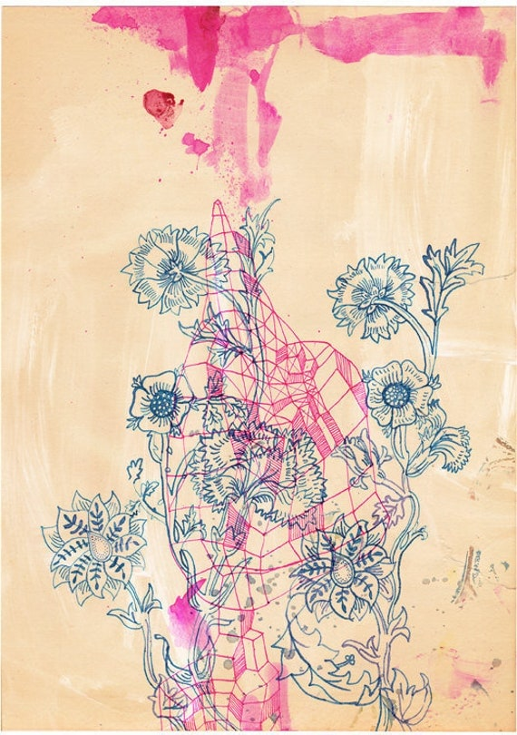 SALE- A2 Pink Ink study - Wall Art archival print by Sweet William