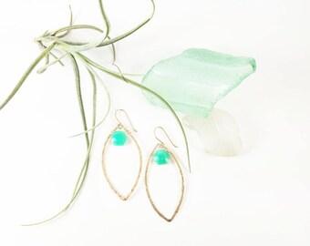 Chrysoprase hexagon-cut gemstones floating in 14kgold-filled frame earrings