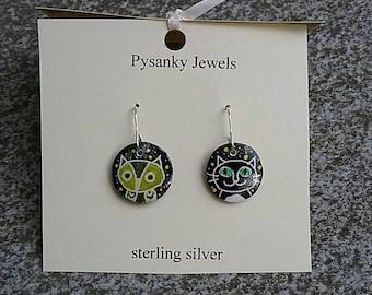 Owl and pussycat pysanky earrings
