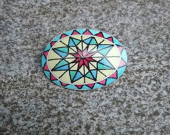 Eight pointed star goose eggshell pysanky pin