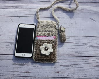 Crochet bag, crossbody purse, cell phone case, cell phone holder, cell phone crossbody, chapstick holder, chapstick holder keychain, crochet
