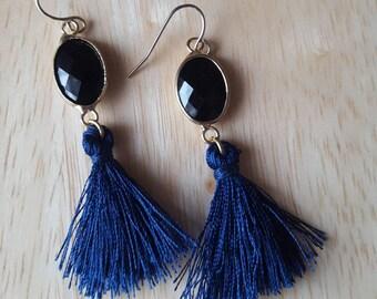 Navy blue and gold tassel earrings | statement earrings | fringe earrings | gold dangle earrings | beaded tassel drop earrings| boho jewelry