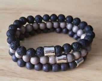 mens lava stone bracelet, wood bead bracelet, gift for him, stacking bracelets, mala beads bracelet, boho jewelry, husband gift, set of 3