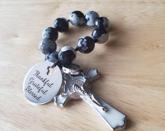 Mini rosary, mens rosary, small rosary, confirmation gift for boys, gift for godfather, first communion gift, thankful grateful blessed