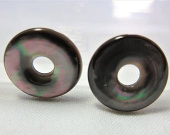 Beautiful Natural Mother of Pearl Donnut Shape 15x2mm (One Pair)