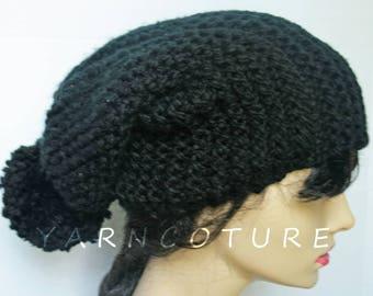 The Extra Long Urban Slouch Hat w/Pom-Pom/Stretch Satin Lining