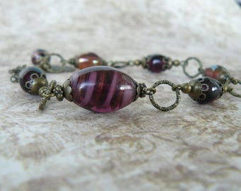 Plum Glass Bead Bracelet, Dark Purple Bracelet, Vintage Boho Style Jewelry, One of a Kind Bracelet, Amethyst Glass Beads