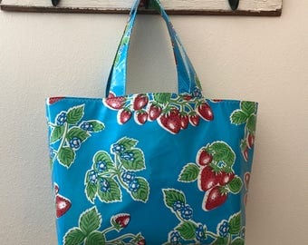 Beth's Large Blue Strawberry Oilcloth Market Tote Bag