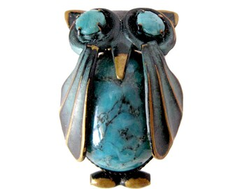 Vintage Turquoise and Enamel OWLPin / Owl Brooch / Made In Germany