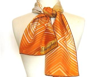 Vintage Silk Scarf / Orange Scarf / Hand Printed Silk / Made in People's Republic of China / Geometric Print Scarf / Shanghai Triangle Label