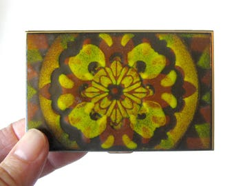 Enamel and Metal Cigarette Case / Floral Enamel Cigarette Box / Business Card Holder / Copper Enamel Box / Yellow and Red Box / Smoker Gift