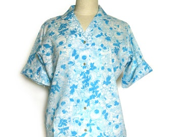 Vintage Floral Blouse / Light Blue Floral / Short Sleeve Blouse / Summer Blouse / Rockabilly Top /  Lady Arrow / NOS with Tags / Size 16