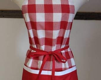 Red Checked Pioneer Woman Fabric - Adult Apron - Kids Apron - Apron - Full Apron - Adjustable Apron - Personalized Apron - Server Apron
