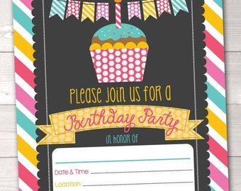 35% OFF SALE Fill In Birthday Party Invitations Printable Cupcake & Stripes Birthday Party Blank Invitation Digital Design INSTANT Download