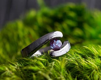 Alexandrite Engagement Ring, Gibeon Meteorite Ring With Tension Setting, Titanium Jewelry, Space Ring