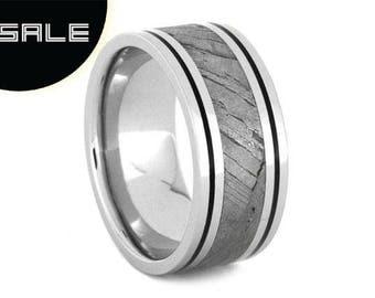 SALE - Seymchan Meteorite Wedding Band For Men With Black Enamel Pinstripes, Platinum Wedding Band, Custom Ring