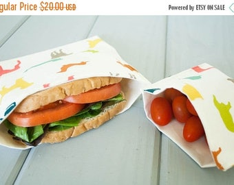 ON SALE PLASTIC-Free Colorful Puppy Dogs Sandwich and Snack Bags, Reusable, Organic Cotton, Eco Friendly - Set of 2