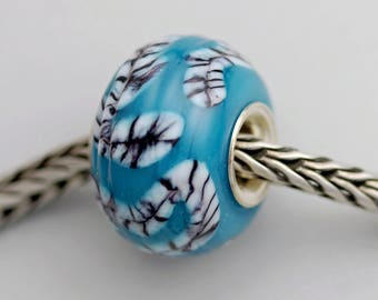 Unique Chubby Turquoise Textured Bead -  Artisan Glass Bracelet Bead - (JUN-46)