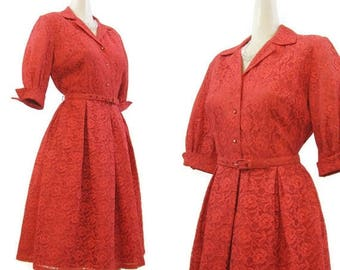 REDUCED Vintage 50s 60s Dress Red Lace Shirtwaist Full Skirt Dress Cocktail Party Rhinestone buttons S M