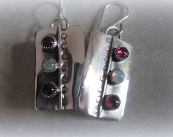 Silver, Opal and Garnet Earrings